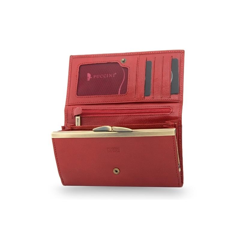090e21095f5d9 Portfel damski Puccini MU-1704 w kolorze czerwonym