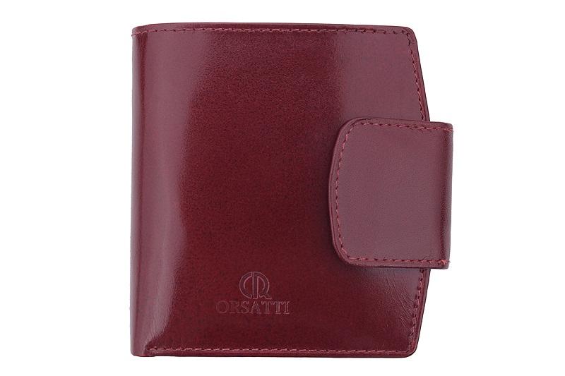 9b152afedaeb90 Skórzany portfel damski Orsatti D-04E w kolorze bordowym + drewniane ...