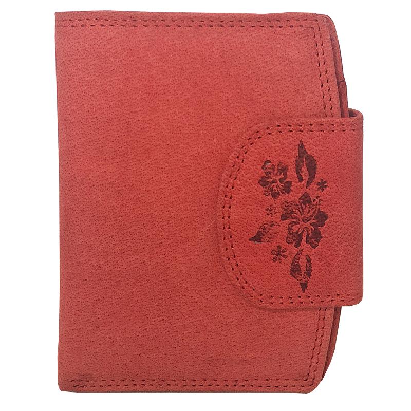 1cc16cc26e877 Duży portfel damski Always Wild ze skóry nubukowej z zapięciem - czerwony