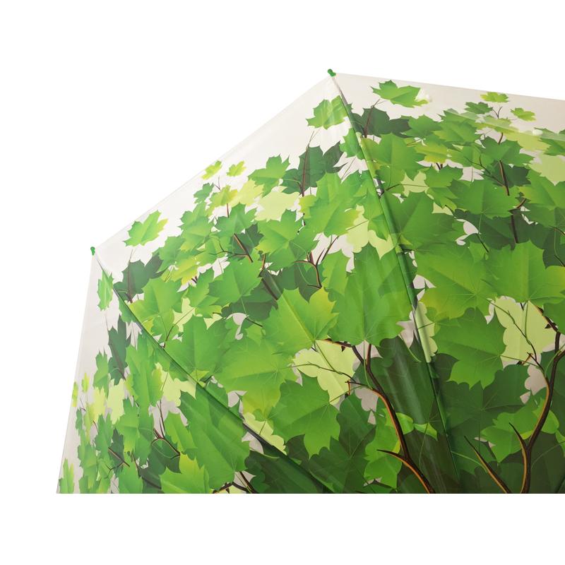 grün Transparent Automatik Damen Schirme Regenschirm Stockschirm Herbstlaub