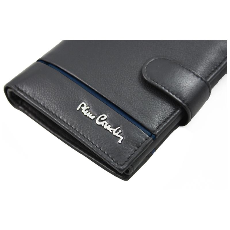 8f85e87c048bf Skórzany portfel męski Pierre Cardin czarny z niebieską wstawką