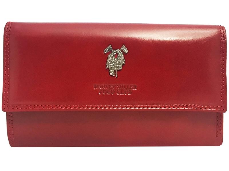 473bde6c8140c Ekskluzywny duży rozbudowany portfel damski Harvey Miller czerwony skórzany