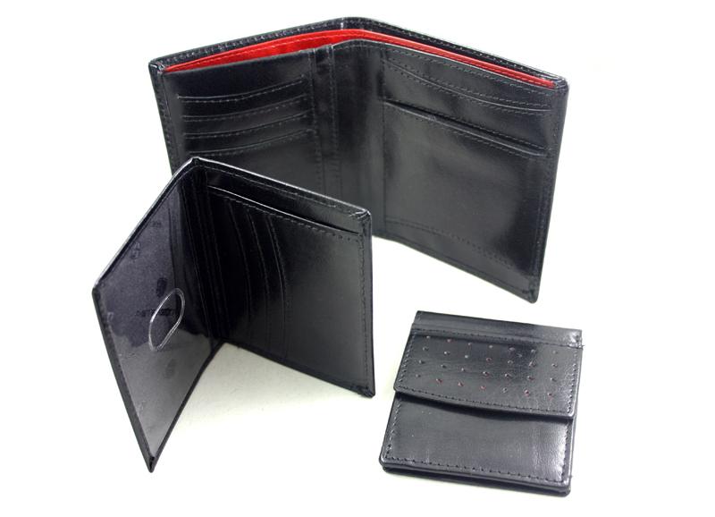 1c377bfa976ec Skórzany czarny z czerwonymi dodatkami portfel męski 3w1, Peterson