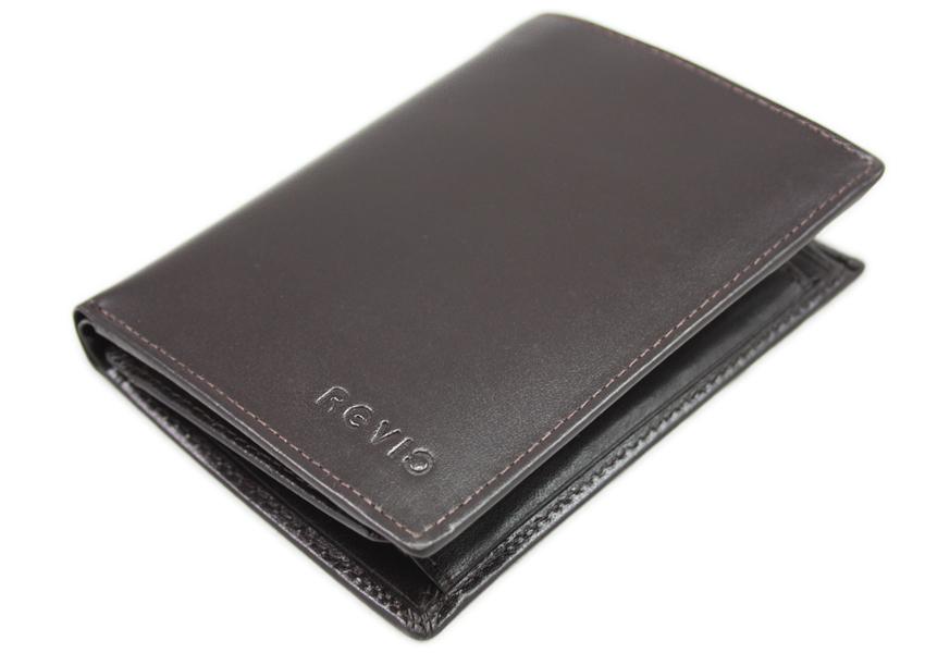 a75f95276b6fd Skórzany klasyczny portfel męski polskiej marki Revio, brązowy