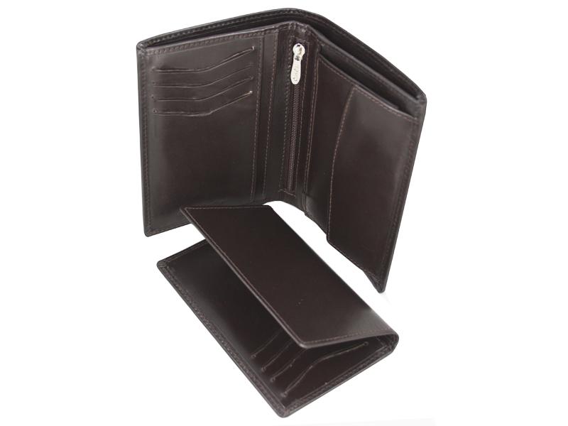 ff73316d1bbd8 Skórzany portfel męski polskiej marki Revio z wyjmowaną wkładką, brązowy