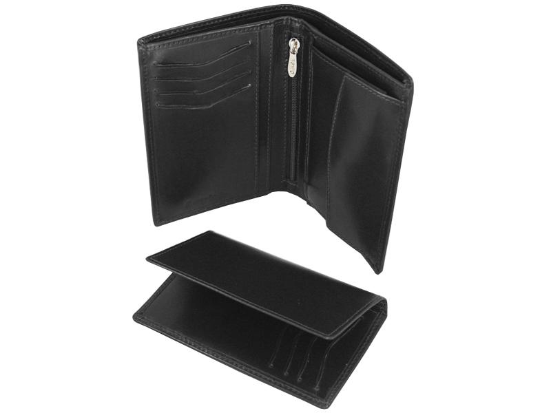 98e8d4c383428 Skórzany portfel męski polskiej marki Revio z wyjmowaną wkładką, czarny