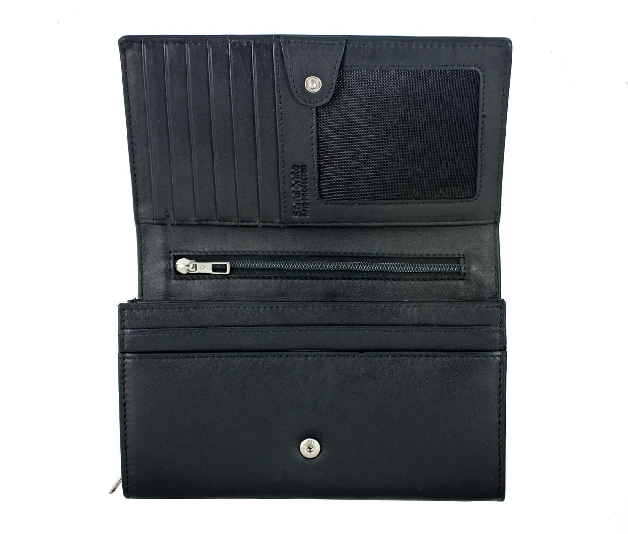 acd66e23f3c1e Skórzany, czarny portfel damski Samsonite RFID