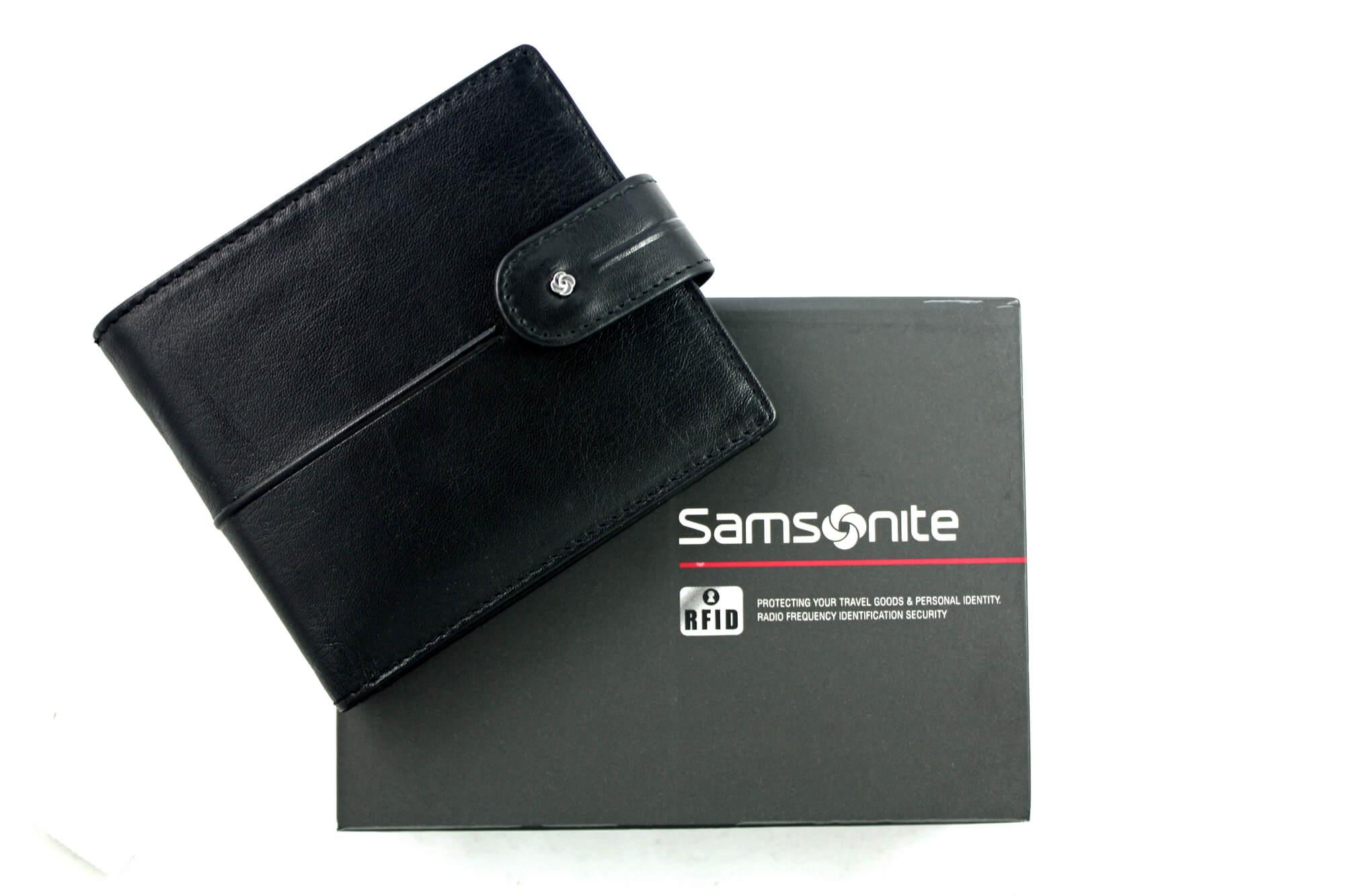 9cdc0546c5dfa Portfel męski Samsonite RFID, skórzany z klipsem w kolorze czarnym