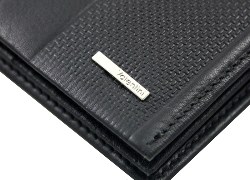 ad97bb43246d9 Męski skórzany poziomy portfel, RFID Valentini, czarny