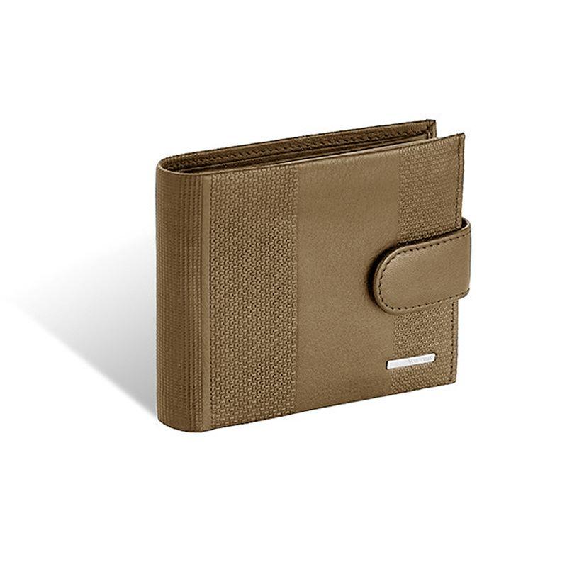 fe336c5d27f04 Męski skórzany poziomy portfel Valentini z zapięciem, brązowy