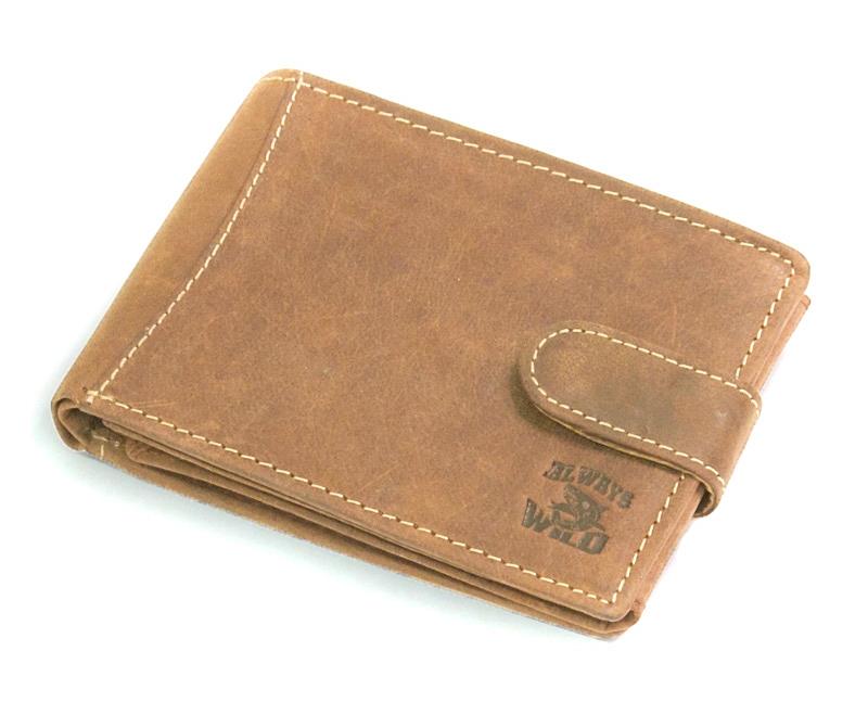 5568fe7ee2bf7 Poziomy portfel męski Always Wild ze skóry nubukowej Z KLIPSEM- jasny brąz